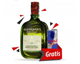 Whisky Buchanan's Deluxe 12 Años Botella x 750ml + Energizante Red Bull Energy Drink Regular Lata x 250ml